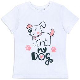 Футболка для девочки Dog белая