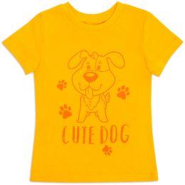 Футболка для девочки Dog желтая