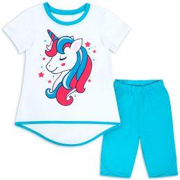 Комплект для девочки Единорог голубой