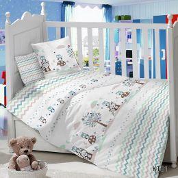 Комплект постельного белья в детскую кроватку Сатин Енотики