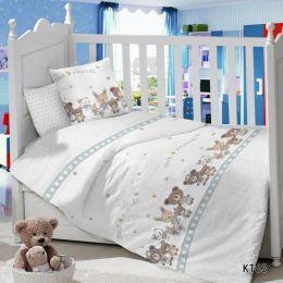 Комплект постельного белья в детскую кроватку Сатин Компания