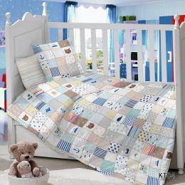 Комплект постельного белья в детскую кроватку Сатин Пэчворк №1