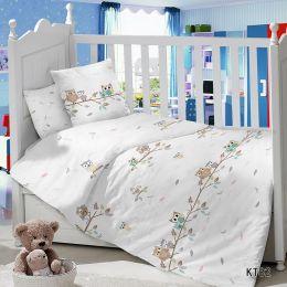 Комплект постельного белья в детскую кроватку Сатин Совушки