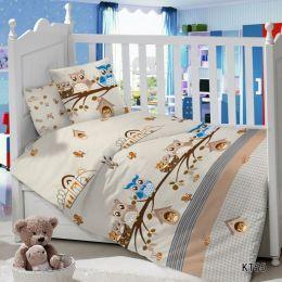 Комплект постельного белья в детскую кроватку Сатин Совята