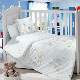 Комплект постельного белья в детскую кроватку Сатин Зайка