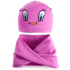 Комплект шапка и шарф хомут для девочки №7