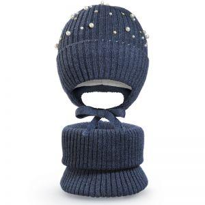 Комплект шапка и шарф хомут для девочки Бусинка