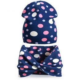 Комплект шапка и шарф хомут для девочки Горошина