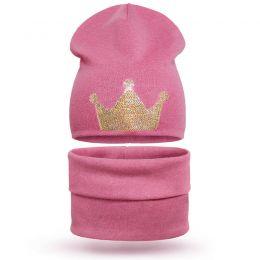 Комплект шапка и шарф хомут для девочки Корона