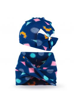 Комплект шапка и шарф хомут для девочки Орнамент №2