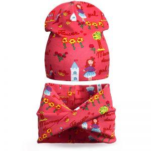 Комплект шапка и шарф хомут для девочки Принцесса