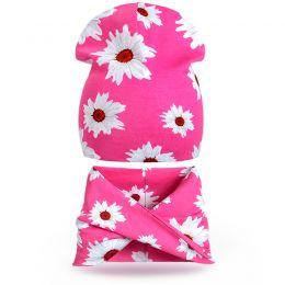Комплект шапка и шарф хомут для девочки Ромашки