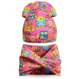Комплект шапка и шарф хомут для девочки Совята