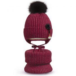 Комплект шапка и шарф хомут для девочки Жемчужина