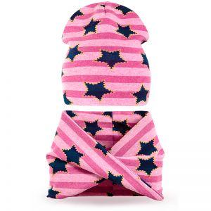 Комплект шапка и шарф хомут для девочки Звезда