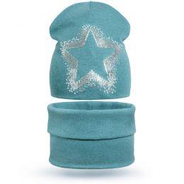 Комплект шапка и шарф хомут для девочки Звёздочка