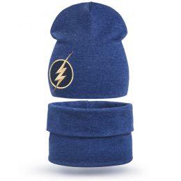 Комплект шапка и шарф хомут для мальчика Молния