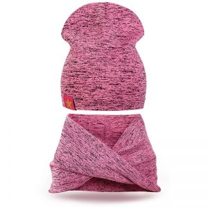 Комплект шапка и шарф хомут трикотаж розовый 2
