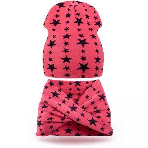 Комплект шапка и шарф хомут трикотаж звезда красный