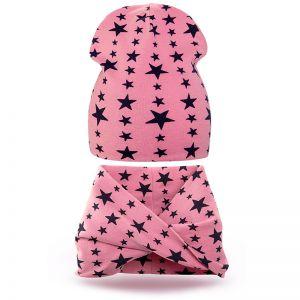Комплект шапка и шарф хомут трикотаж звезда розовый