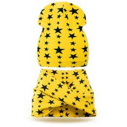 Комплект шапка и шарф хомут трикотаж звезда желтый