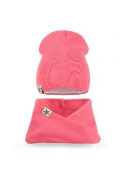 Комплект шапка и шарф хомут вязанный для девочки