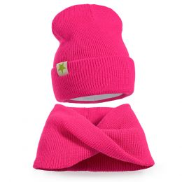 Комплект шапка и шарф хомут вязанный для девочки №2