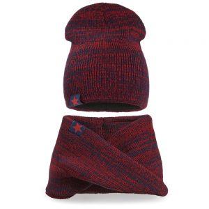 Комплект шапка и шарф хомут вязанный для мальчика