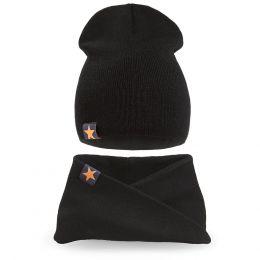 Комплект шапка и шарф хомут вязанный для мальчика №1