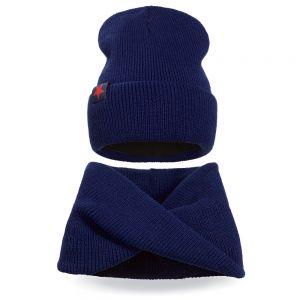 Комплект шапка и шарф хомут вязанный для мальчика №2