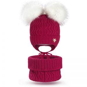 Комплект шапка и шарф снуд для девочки №3