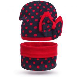 Комплект шапка и шарф снуд для девочки Бантик