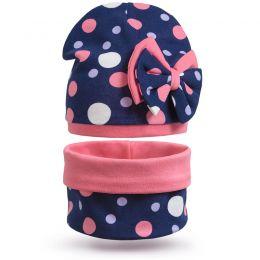 Комплект шапка и шарф снуд для девочки Бантик №1