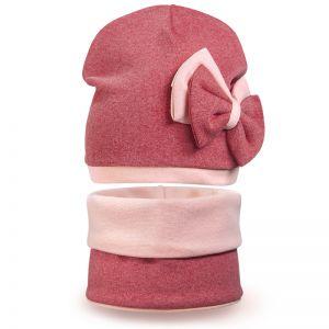 Комплект шапка и шарф снуд для девочки Бантики