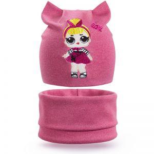 Комплект шапка и шарф снуд для девочки Кошечка