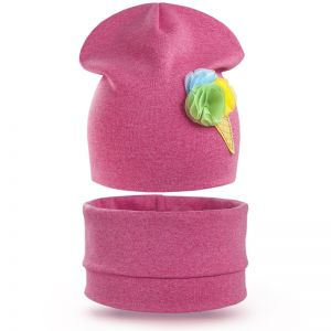 Комплект шапка и шарф снуд для девочки Мороженое