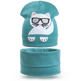 Комплект шапка и шарф снуд для девочки Очки