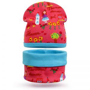 Комплект шапка и шарф снуд для девочки Принцесса