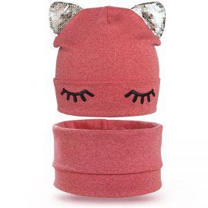 Комплект шапка и шарф снуд для девочки Реснички