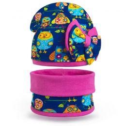Комплект шапка и шарф снуд для девочки Совята №1