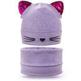 Комплект шапка и шарф снуд для девочки Усики