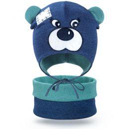 Комплект шапка и шарф снуд для мальчика Мишка