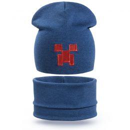 Комплект шапка и шарф снуд для мальчика Пиксель