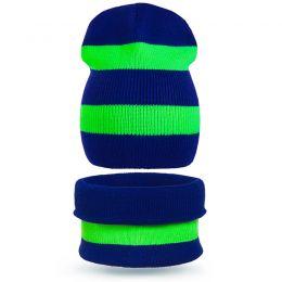 Комплект шапка и шарф снуд вязанный Полоса