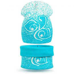 Комплект шапка и шарф снуд вязанный Цветок