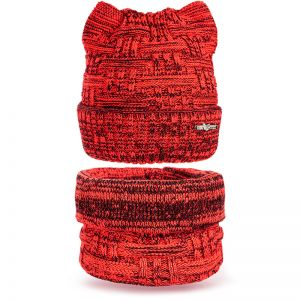 Комплект шапка и шарф снуд вязанный Ушки