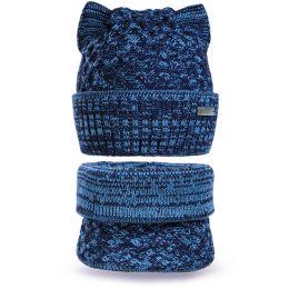 Комплект шапка и шарф снуд вязанный Ушки №2