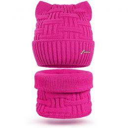 Комплект шапка и шарф снуд вязанный Ушки №3