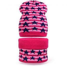 Комплект шапка и шарф снуд вязанный Звезда