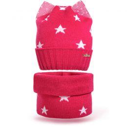 Комплект шапка и шарф снуд вязанный Звезда №3
